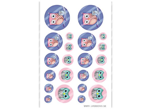 Grafický motív na zalievné šperky Sovičky fialové