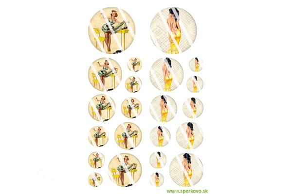 Grafický motív na šperky zalievané živicou Retro dámy