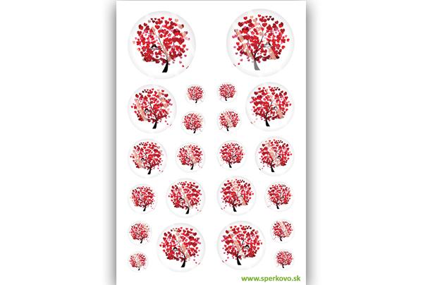 Červený strom grafický motív na krištálovú živicu