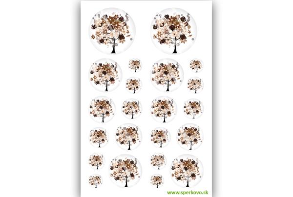 Hnedý strom na zalievané šperky zo živice grafický motív