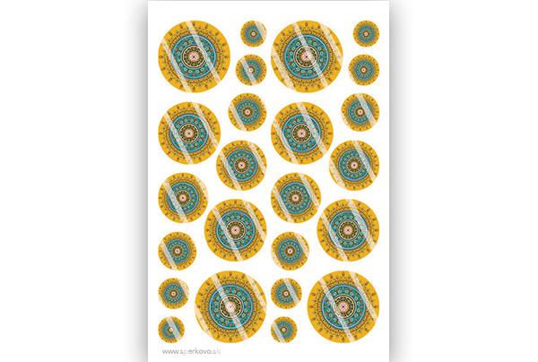 Grafický motív na šperky zo živice Žltá mandala