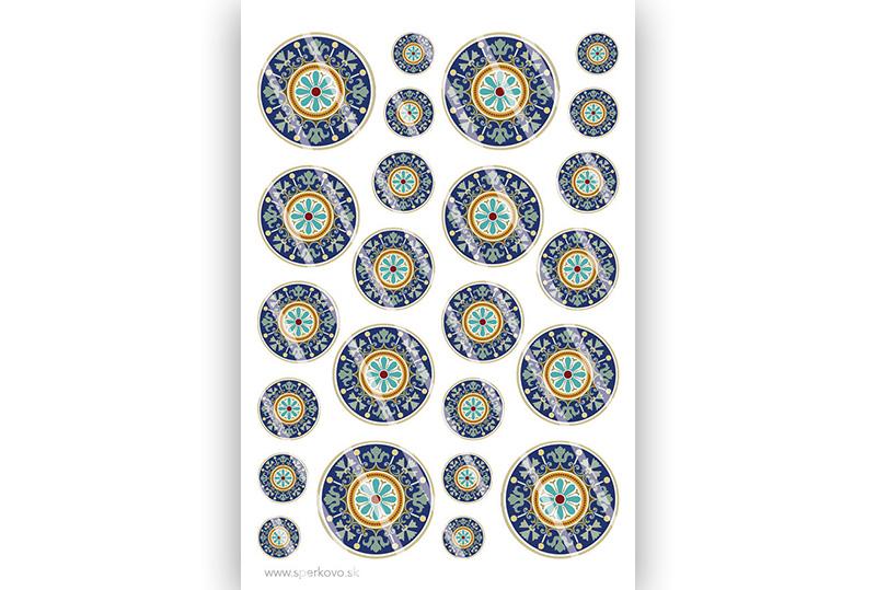 Grafický motív na zalievané šperky Mandala modrá