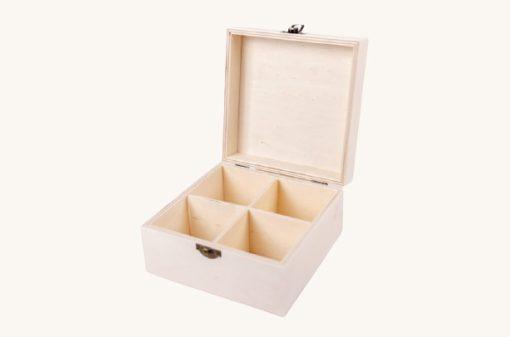 Drevená krabička na čaj 4 priečinky