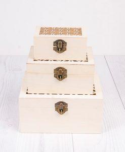 Drevené krabičky na decoupage s ornamentom sada 3 ks