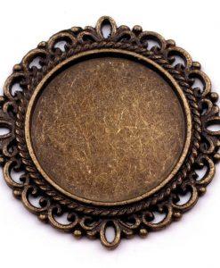 Lôžko okrúhle filigránové staromosadz 20 mm