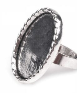 Prsteň oválne ložko na živicu 23 x 31 mm platina