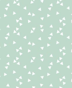 bavlnena-latka-metraz-biele-trojuholniky-na-mentolovej