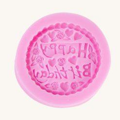 Okrúhla forma na mydlo s nápisom Happy birthday