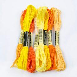 Bavlnky na vyšívanie mix oranžový