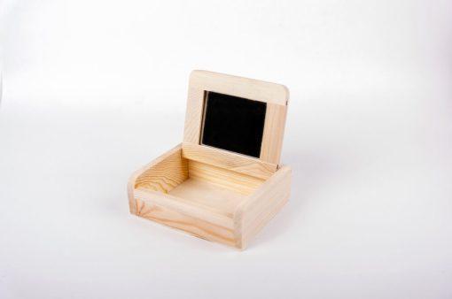 Drevená krabica na dekupáž so zrkadlom