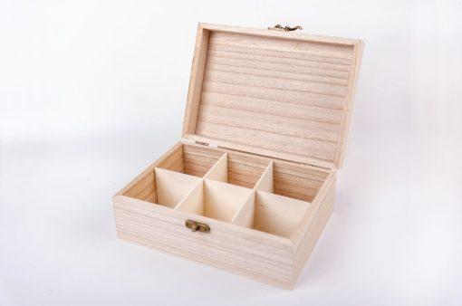 Drevená krabička na čaj 6 boxov