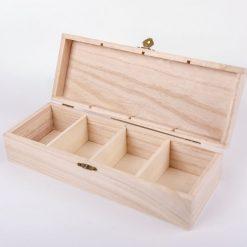 Drevená krabička so 4 priečinkami