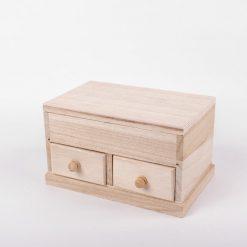 Drevená krabička veľká na šperky so zrkadlom