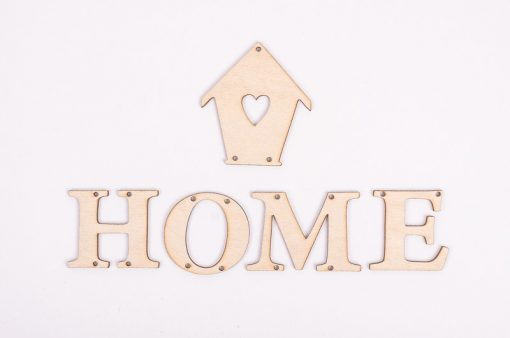 Drevený výrez nápis Home