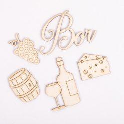 Drevený výrez sada víno a syr