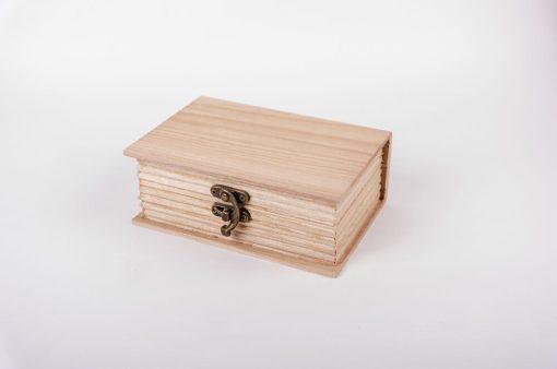 Drevená krabička na dekupáž kniha stredná