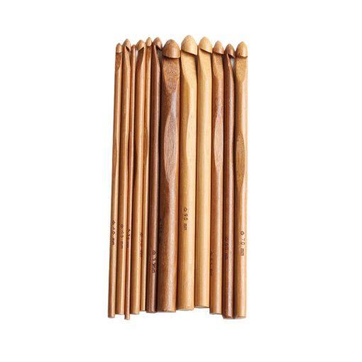 Drevený háčik bambusový sada 12 ks