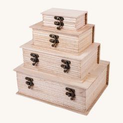 Sada drevených krabíc v tvare knihy 4 ks
