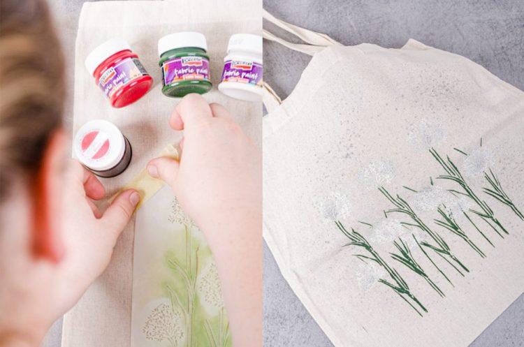 Maľovanie na textil pomocou šablón