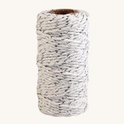 Bavlnený špagát bielo strieborný