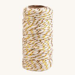 Bavlnený špagát bielo zlatý