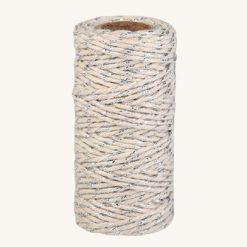 Bavlnený špagát krémovo strieborný