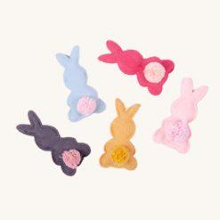 Textilná dekorácia zajačik s chvostíkom 5 ks
