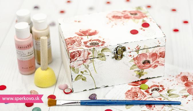 Decoupage zdobenie na krabičku