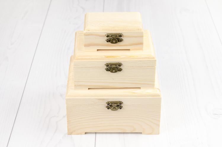 Drevené krabičky na decoupage s nožičkami sada 3 ks