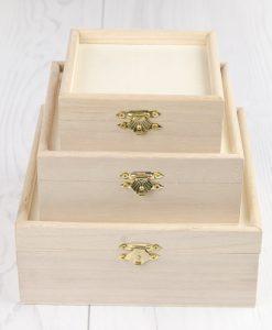Drevená krabička s okrajom sada 3 ks