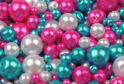 Voskované perly mix ružový 25 g